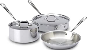 All-Clad 401599 Stainless Steel Tri-Ply Bonded Dishwasher Safe 5-Piece Cookware Set, Silver