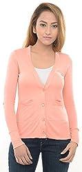 Estance Viscose Solid Light Pink Cardigan