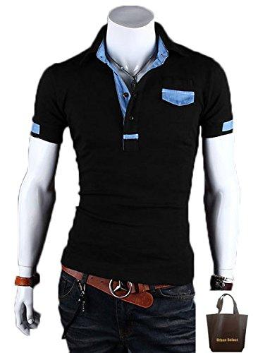 (アーバンセレクト) Urban Select  ポロシャツ半袖 ポロシャツ メンズ 半袖 ブランド 白 半そで  ボタンダウン ボーダー  AI-1504(エコバッグセット) (XXL, ブラック)