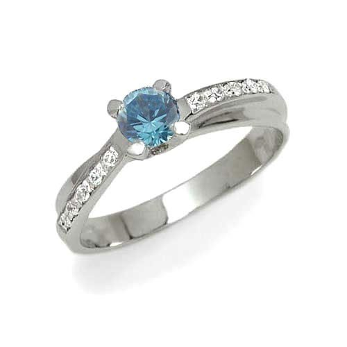 Engagement Ladies' Ring in White 18-karat Gold with Azure Cubic Zirconia, form Solitary, weight 3.1 grams, size K