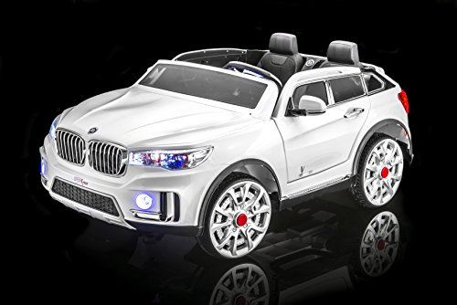 SPORTrax BMW X7 Style Kid's Ride On Car, 2 Seater, Battery Powered, Remote Control, w/FREE MP3 Player - White (Battery Powered Two Seater Car compare prices)