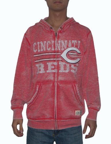 MLB Cincinnati Reds Mens Athletic Zip-Up Hoodie / Jacket (Vintage Look) Large Red at Amazon.com