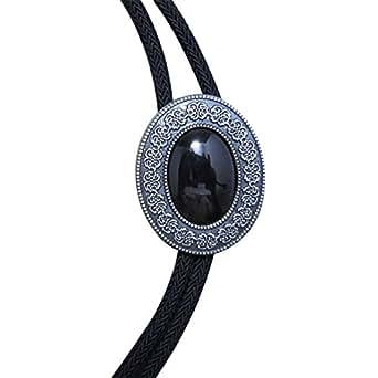 Vintage Black Men Metal Bolo Tie Antique Necktie Silver Plate Bow Ties