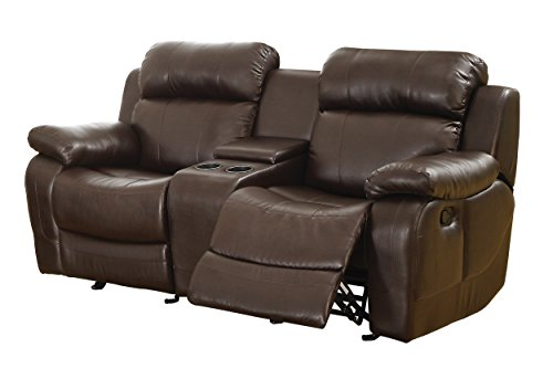 Homelegance marille reclining loveseat w center console cup holder brown bonded leather Loveseat with cup holders