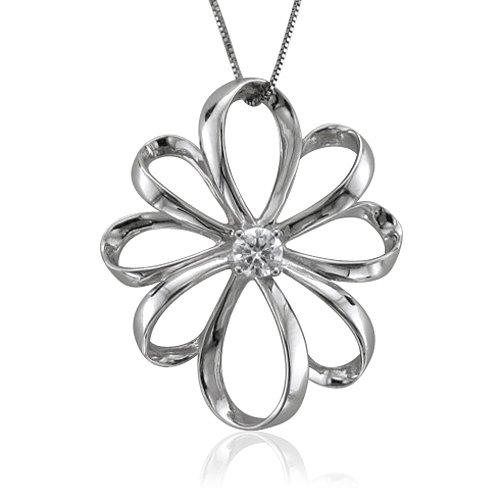 14K White Gold Flower Solitaire Diamond Pendant Necklace