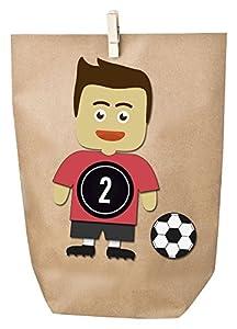 DIY Fußball-Adventskalender Set zum Basteln - Basteladventskalender Fußball - zum selber befüllen - Trikot rot Hose schwarz Sticker schwarz