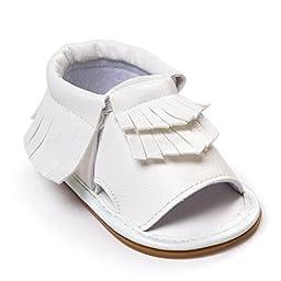 Voberry® Infant Baby Girls Boys bling bling Moccasins Tassels Premium Rubber Sole Anti-Slip Summer Prewalker Toddler Sandals ( 12~18 Month, White)