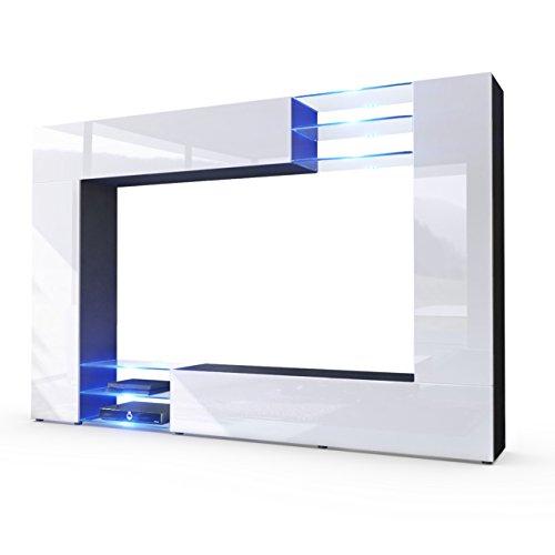 Wohnwand-Anbauwand-Mirage-Korpus-in-Schwarz-matt-Fronten-in-Wei-Hochglanz-inkl-LED-Beleuchtung