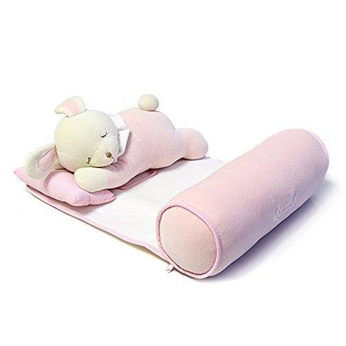 Masaling ベビーまくら 寝姿を正す 向き癖対応 向きぐせ防止クッション 快適 調整可能 清浄可能 ままも安心 0-3歳 ピンク ウサギ
