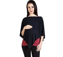 Blush 9 Maternity Womens Maternity Nursing Top (Free Size_Black)