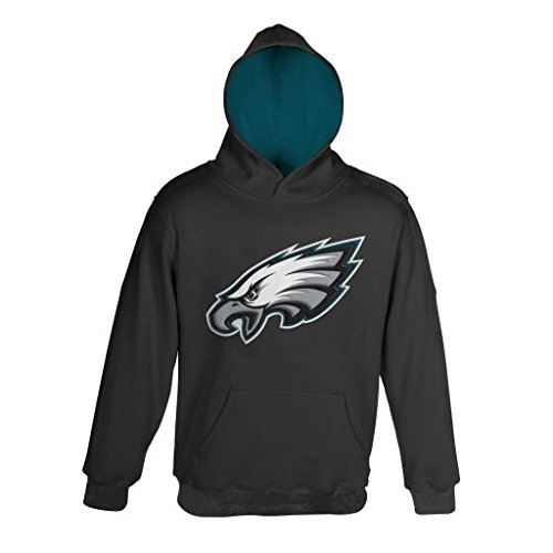 """NFL Youth Boys 8-20 Philadelphia EAGLES """"PRIMARY"""" PULLOVER HOODIE -ALT Black S (8) by Outerstuff/Adidas Licensed Youth Apparel"""
