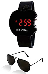 Sheomy Unisex Combo Pack of Sunglasses for Men and Women and LED Digital Black Dial Apple Shape Kids Watch