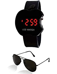 Sheomy AX-A63O-YYM6 Unisex Combo Pack Of Sunglasses And LED Digital Black Dial Apple Shape Watch