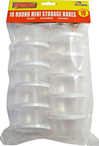10 x ronds MINI boîtes de conservation en plastique-Passe au congélateur, micro-ondes, reusuable avec couvercle-livraison gratuite