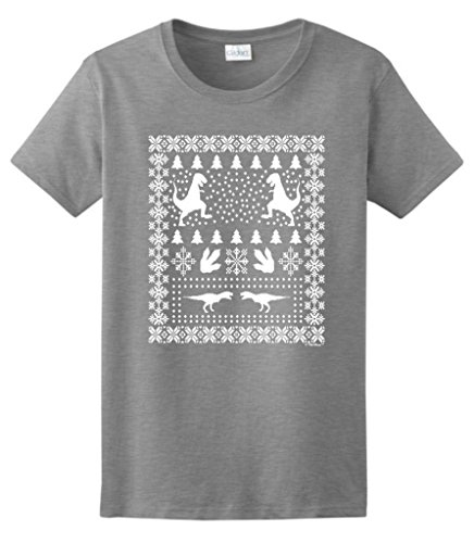 Ugly Christmas Sweater T-Rex Ladies T-Shirt Medium Sport Grey
