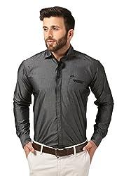 Mesh Full Sleeves Casual Cotton Blended Shirt for Men's/Boy's (Black) -42