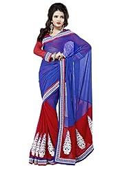 Prafful Gorgette Bhagalpuri Printed Saree With Unstitched Blouse - B00KNUN8B0