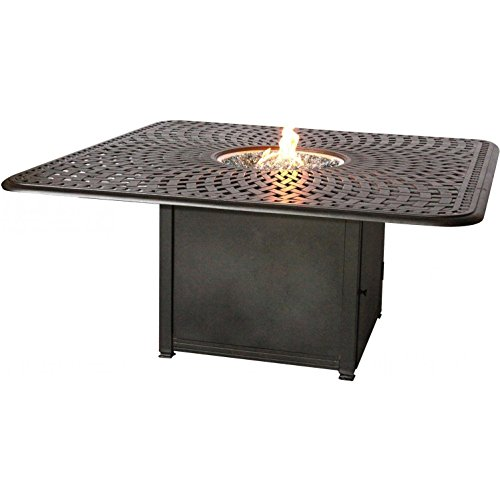 Darlee Florence 9 Piece Cast Aluminum Patio Fire Pit Dining Set - Dining Table With Ice Bucket Insert - Antique Bronze 3
