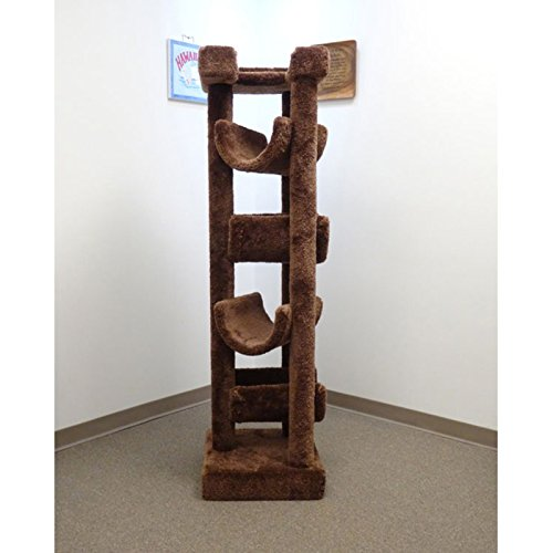New Cat Condos Premier Solid Wood 6-foot Skyscraper Cat Tree, Green