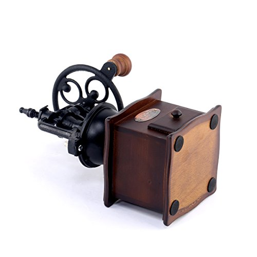 Musiclily Vintage Style Ceramic Iron Burr Core Manual Coffee Grinder Spice Hand Grinding Machine Hand-crank Roller Drive Grain Burr Mill Coffee Machine