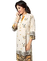 Dragaon- Parlor-of-Print Off White Long Kurti For Fashionable Women