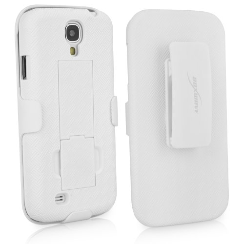 BoxWave Dual+ Holster Galaxy S4 Case - 3-in-1 Case with Holster Combo Includes Protective Case and Belt Clip Holster with Integrated Viewing Stand (Winter White)