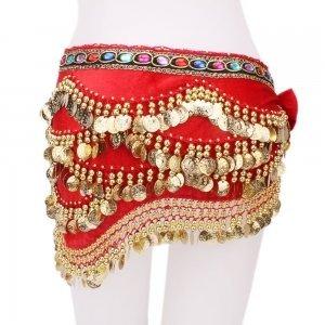 Multicolor Diamond Velvet Belly Dance Hip Scarf Red