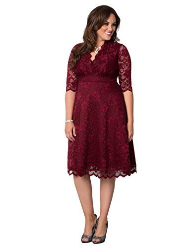 bae079dbdc Kiyonna Women s Plus Size Mademoiselle Lace Dress 2X Pinot Noir