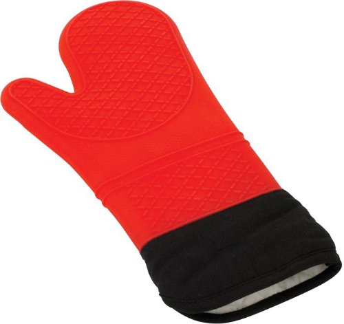 Silicone Oven Mitt And Potholder: This Extra Long Red Glove Saves Forearms From Burns | Waterproof Rubber Withstands Hot Steam And Heat Up To 482°F | Comfortable To Wear, Easy To Clean