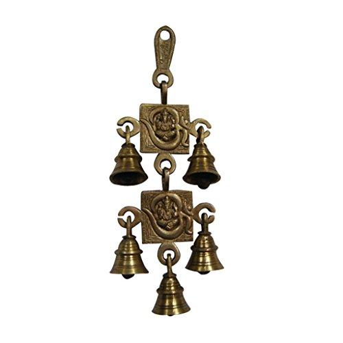 Divya Mantra Vastu Om Ganesha Brass 5 Bells Wall / Door Hanging