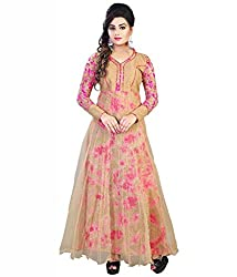 Rutva Fashion New Designer Beige Color Net Party-Festive Wear Gowns
