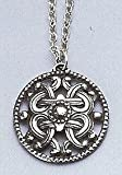 "Ornate Pewter Viking Pendant on 32"" Pewter Chain"