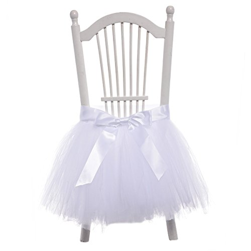 Handmade Tulle Tutu Chair Skirt with Sash Bow for Party, Wedding & Home Decoration (White)