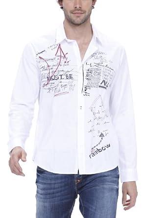 desigual pause chemise coton homme blanc small v tements et accessoires. Black Bedroom Furniture Sets. Home Design Ideas