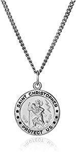 Men's Sterling Silver Saint Christopher Round Medal with Stainless Steel Chain, 20""