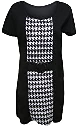 Plus Sizes Womens Dog Tooth Checked Short Sleeve Buckle Ladies Dress Sizes 14 - 28