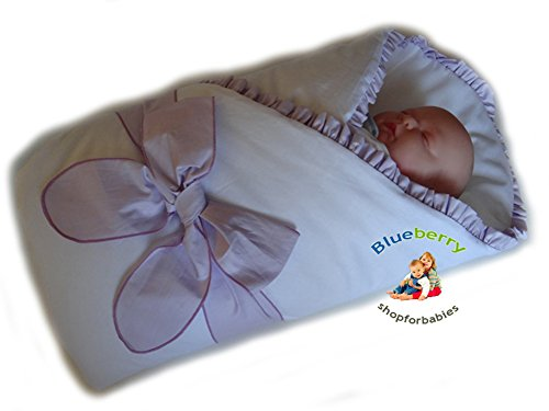 Blueberry Shop Luxury Warm Newborn Swaddle Wrap Blanket Duvet Sleeping Bag Satin Cotton Purple