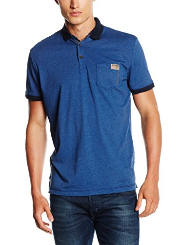 TOM TAILOR with Contrast Details, Polo Uomo, Blu (Estate Blue), Large