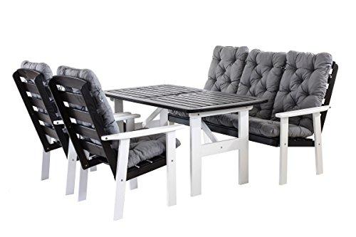 90399 9 teilig Garten Sitzgruppe Essgruppe Loungegruppe Gartenmöbel Essgarnitur Hanko Maxi mit Kissen, weiß / grau
