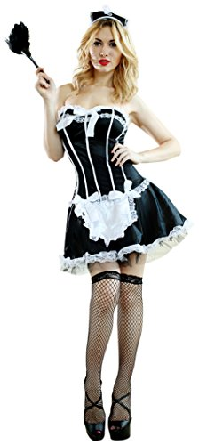Sexy Adult French Maid Waitress Outfit Costume Dress Set Fancy Dress Party Halloween