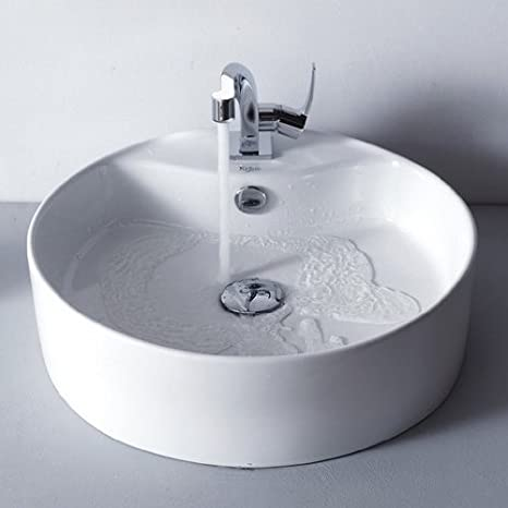 Kraus C-KCV-142-15101CH White Round Ceramic Sink and Typhon Basin Faucet, Chrome