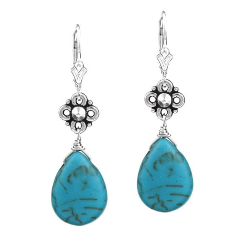 Charming Life Sterling Silver Blue Magnesite Earrings