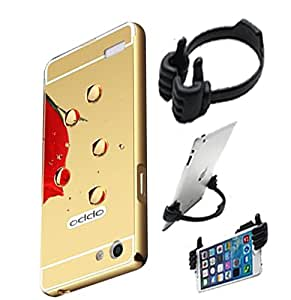 Aart Luxury Metal Bumper + Acrylic Mirror Back Cover Case For OppoNeo7 Gold+ Flexible Portable Mount Cradle Thumb OK Designed Stand Holder