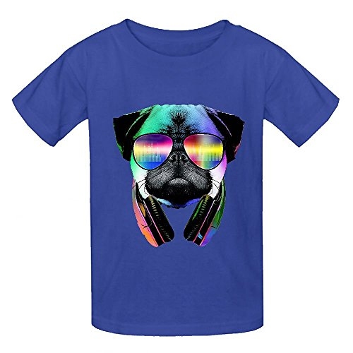 [Snowl Music Lover Pug Child Crew Neck Customized T-shirt Blue] (Stormtroopers Outfit)