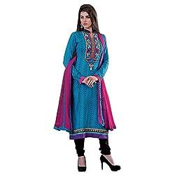 Renisha Fashion Women's Cotton Unstitched Salwar Suit (Blue)