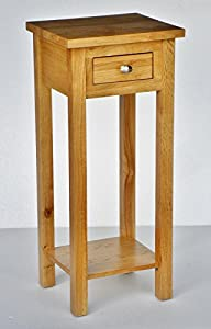 New solid oak compact tall slim small telephone phone for Tall slim lamp table