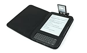 GreatShield Premium Quality Kindle Keyboard 3G Lighted Leather Case Cover with Built-in Light - Black