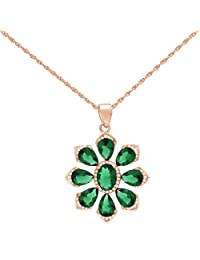 Pink Gold Plated Sterling Silver Simulated Diamonds And Emeralds Flower Design Pendant
