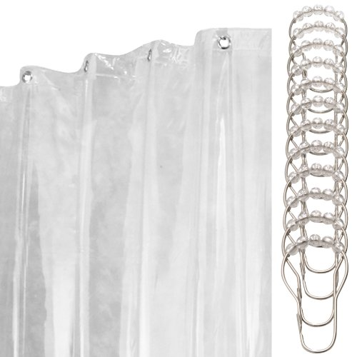 InterDesign 13-Piece Shower Curtain/Liner and Rings Set, 72 by 84-Inch, Clear Vinyl