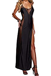 The Victory Sexy Black Sheer Lace Mesh Nightgown Long Gown G-string Set